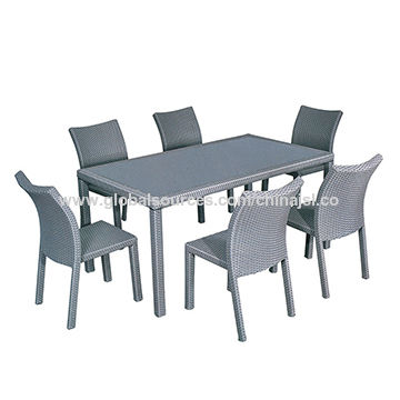 Plastic injection rattan chair and table mould