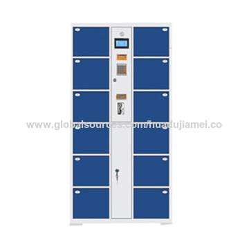 Supermarket 12-Doors Electronic Barcode Storage Cabinets, 0.8mm Cold Rolled Steel Plate