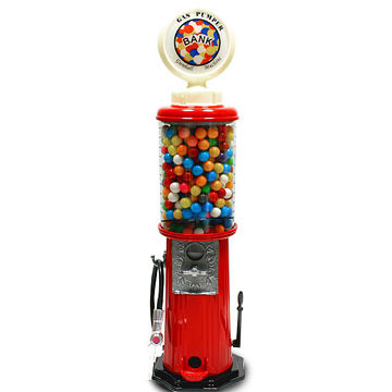 Gas Pump-designed Gumball Machine with Metal Base and Clear Plastic Globe